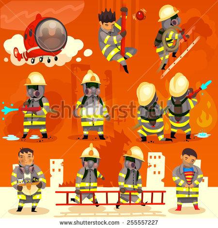 Set Cartoon Fireman Doing Their Job Stock Vector 255557227.