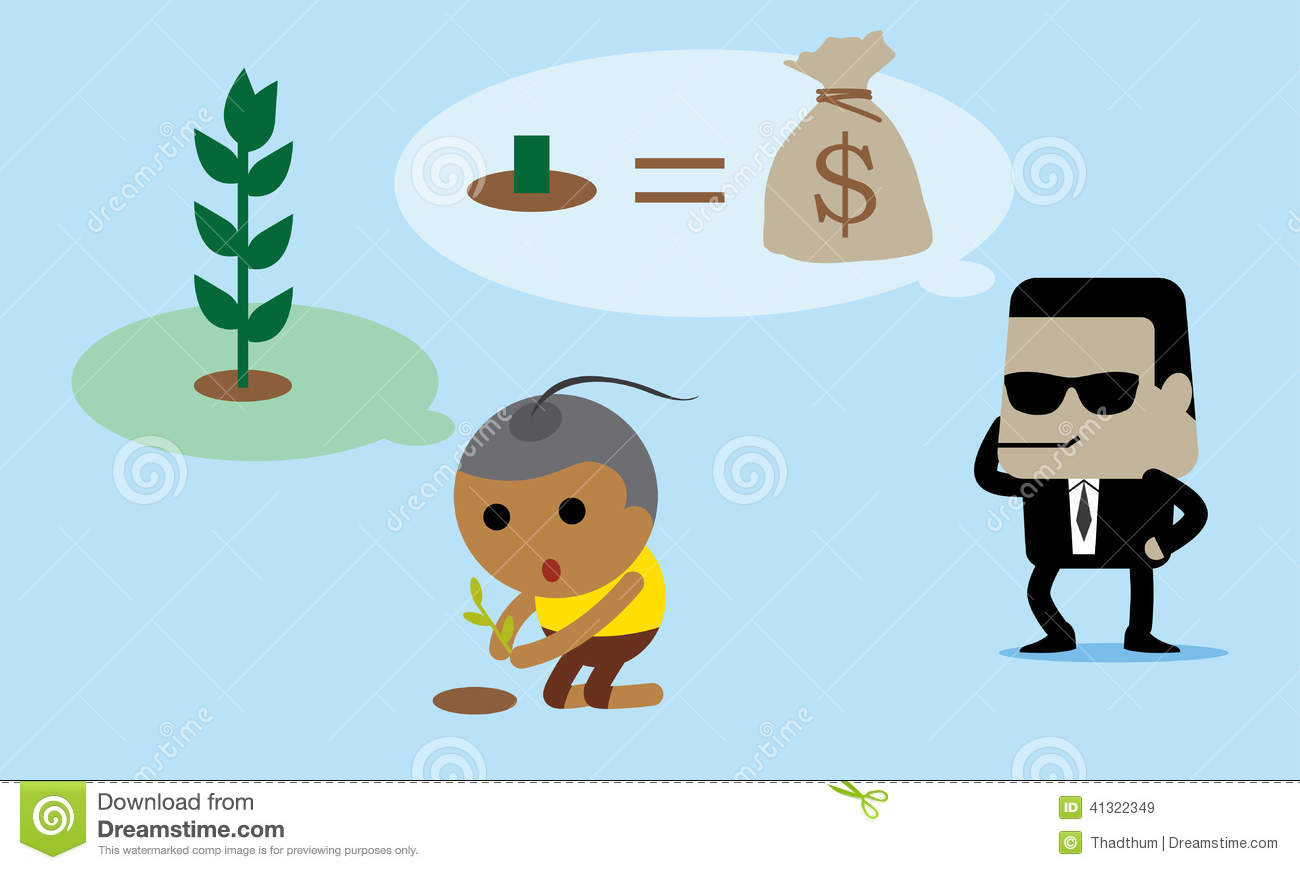 Boy Is Saving The Environment From Capitalist People Stock Vector.