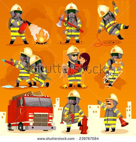Set Cartoon Fireman Doing Their Job Stock Vector 239767084.