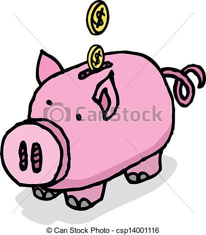 Vector Clip Art of Piggy bank savings csp14001116.