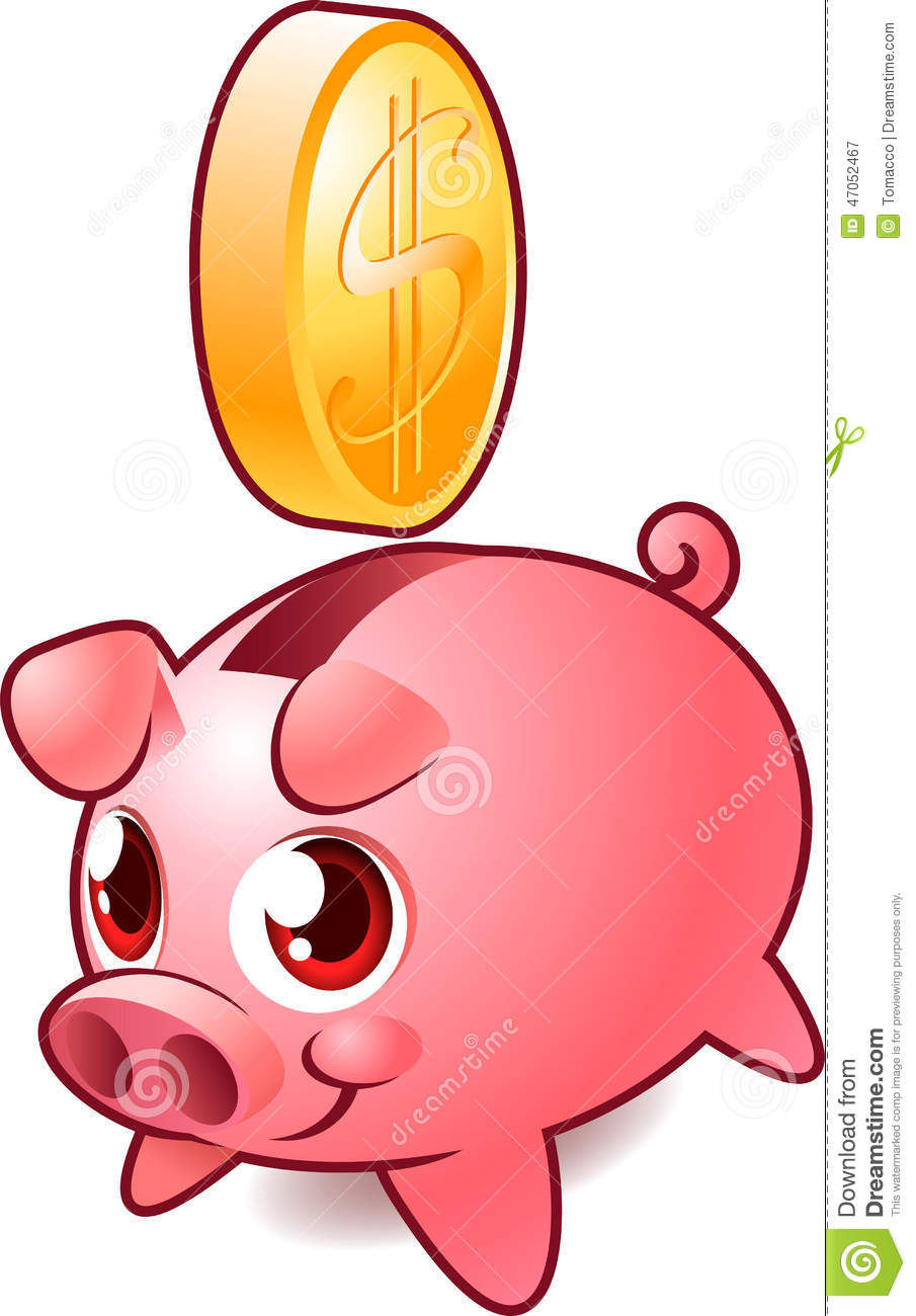 Pink Piggy Savings Bank With Golden Coin Stock Illustration.