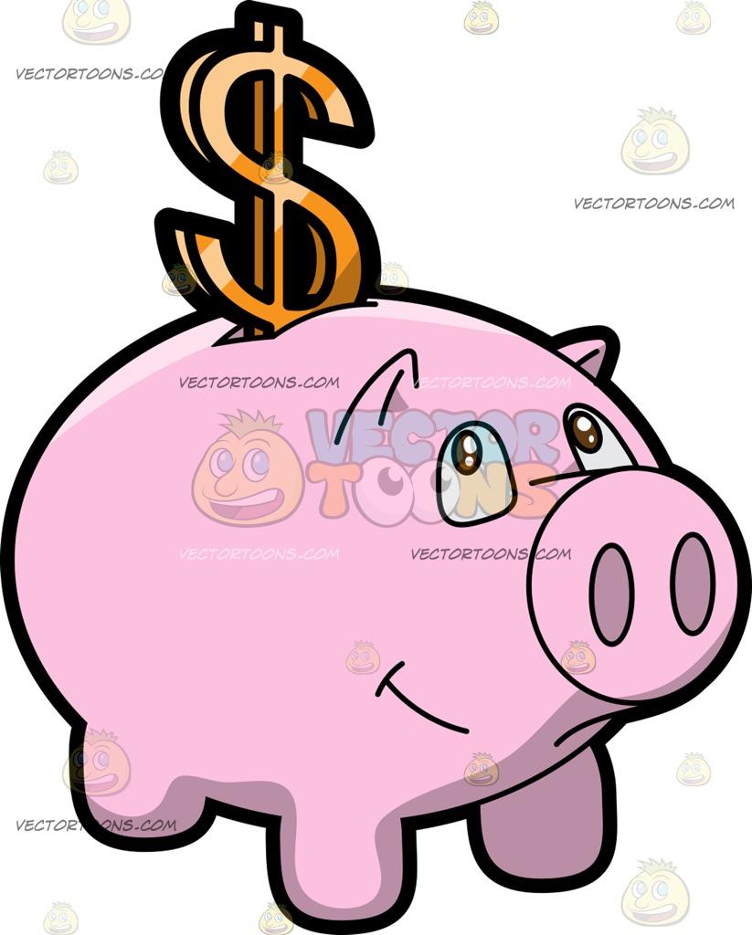 A Piggy Bank Dollar Savings Cartoon Clipart.