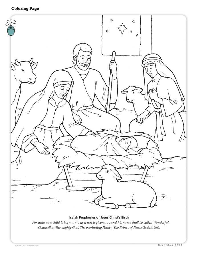 Christ the savior is born to color clipart.