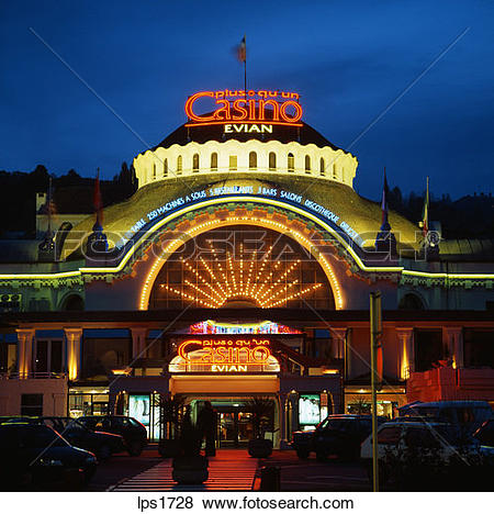 Pictures of 33 Casino Entrance At Dusk Evian Savoie France lps1728.