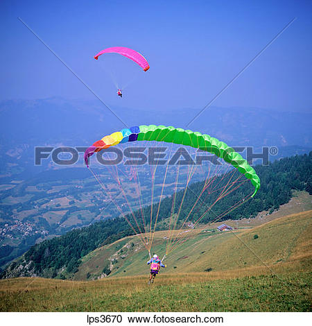 Stock Photography of 25 France French Alps Savoie Paraglider After.