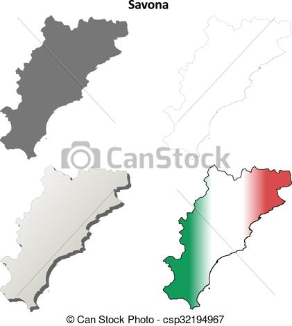 Clip Art Vector of Savona blank detailed outline map set.
