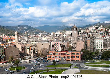 Stock Photo of Old towers in Savona, Italy, travel landmark.