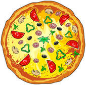 Clipart of Waiters deliver a hot pizza k10970102.
