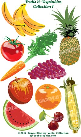 Vector Cliparts Fruits and Vegetables.