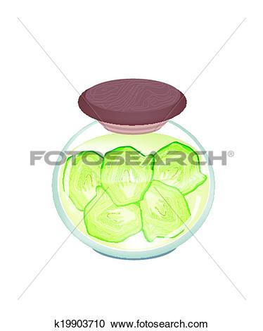 Clipart of A Jar of Pickled Fresh Savoy Cabbage k19903710.