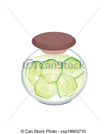 Vector Clip Art of A Jar of Pickled Fresh Savoy Cabbage.