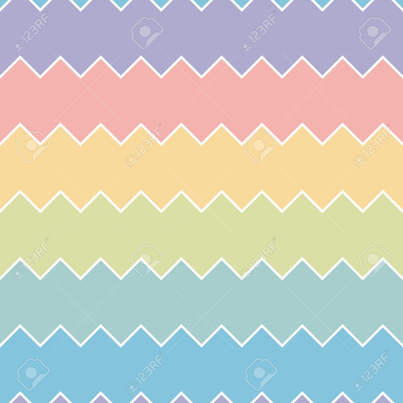 Seamless Colourful Rainbow Sawtooth Zig.