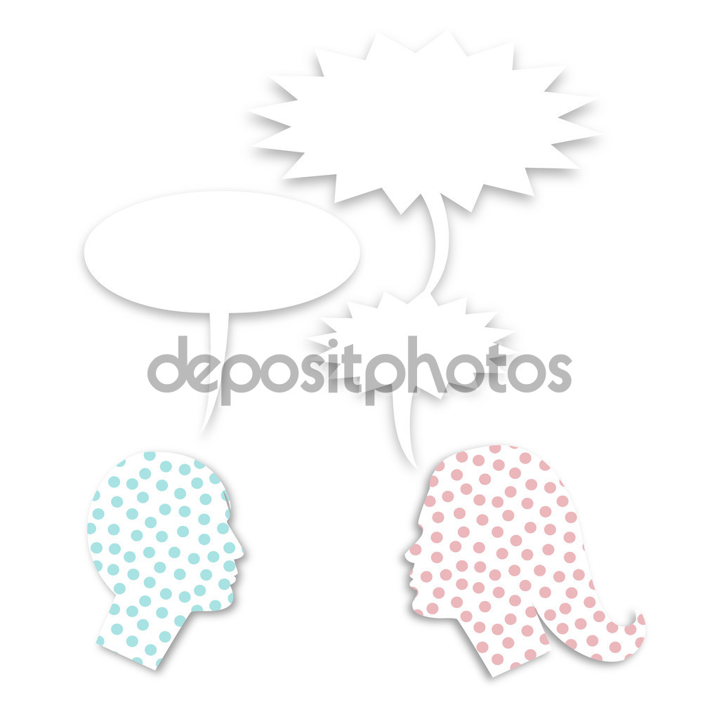 Man and woman face profile silhouette with saw toothed balloons.