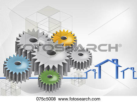 Stock Illustration of Saw toothed wheels and houses 075c5008.