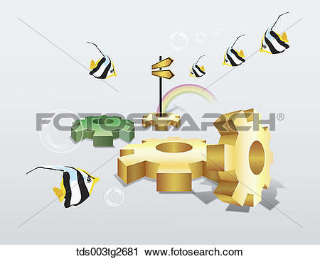 Clipart of Saw toothed wheels and tropical fishes tds003tg2681.