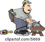 Male Carpenter Cutting Wood On a Sawhorse Clipart Illustration by.