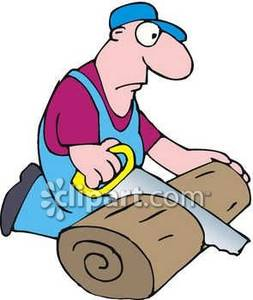 Hand Sawing Wood Clipart.