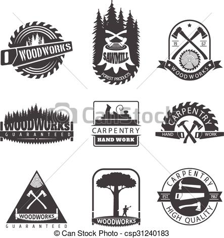 Clip Art Vector of Set of logo, label, badge and logotype elements.