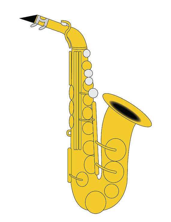 Saxophone Clip Art/ Alto Saxophone Illustration/ Saxophone.