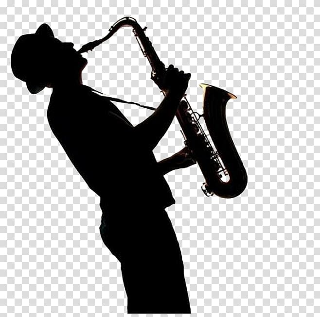 Silhouette of person playing saxophone, Saxophone.