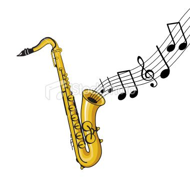 a saxophone with music notes coming out.