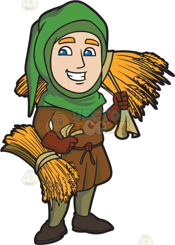 A Saxon Farmer Going To Sell His Harvest Cartoon Clipart.