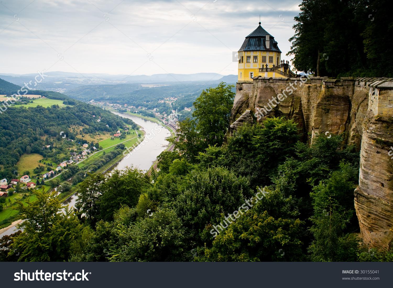 Saxon Switzerland. Elbe River View From Castle Koenigstein. Stock.