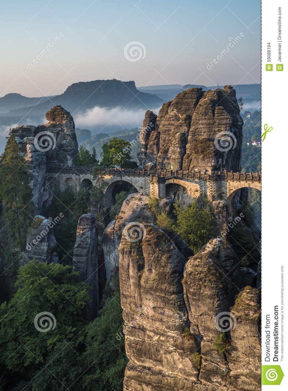 The Bastei Bridge, Saxon Switzerland National Park, Germany Stock.