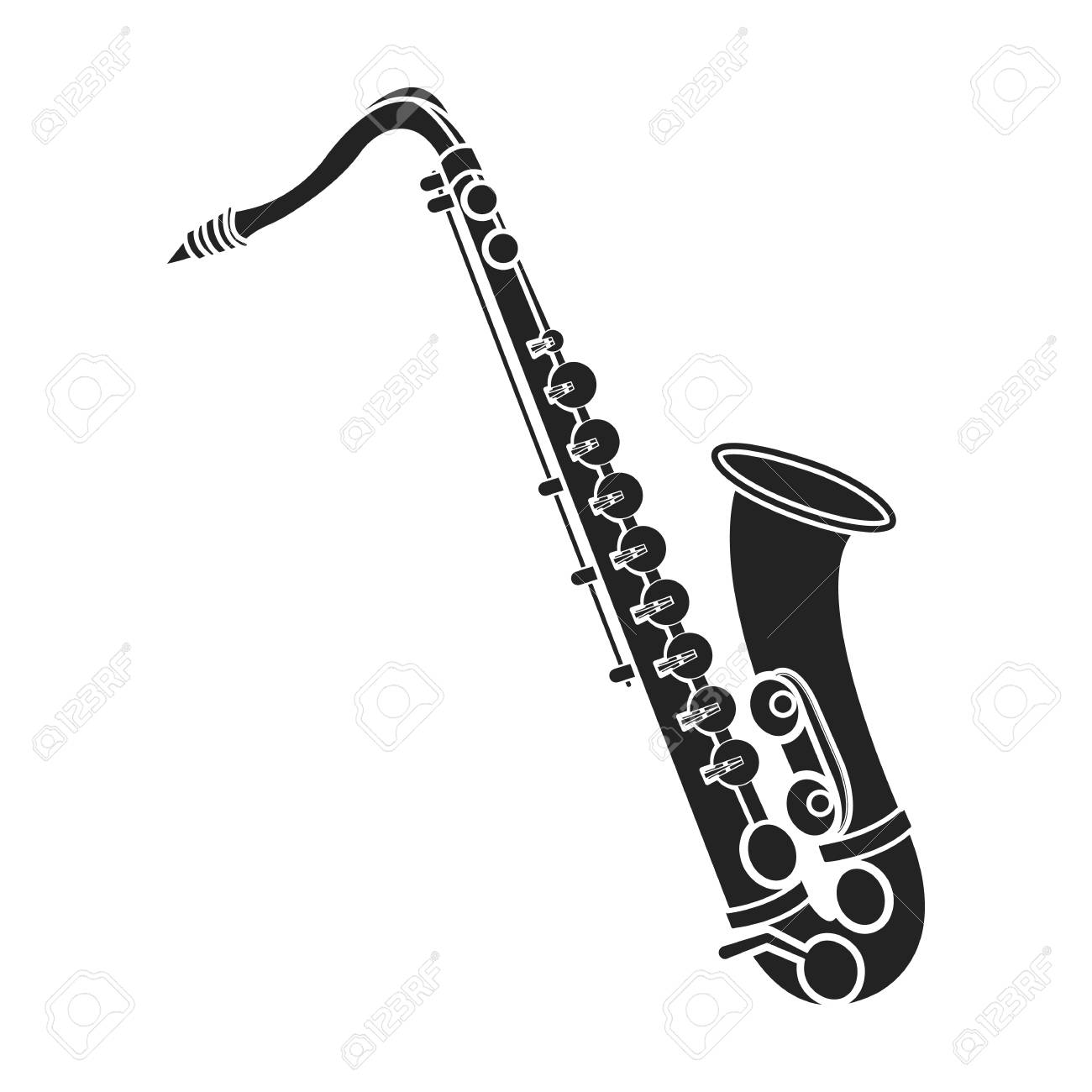 Saxophone icon in black style isolated on white background.