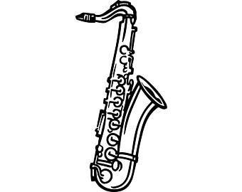 Saxophone Clipart Black And White (97+ images in Collection.