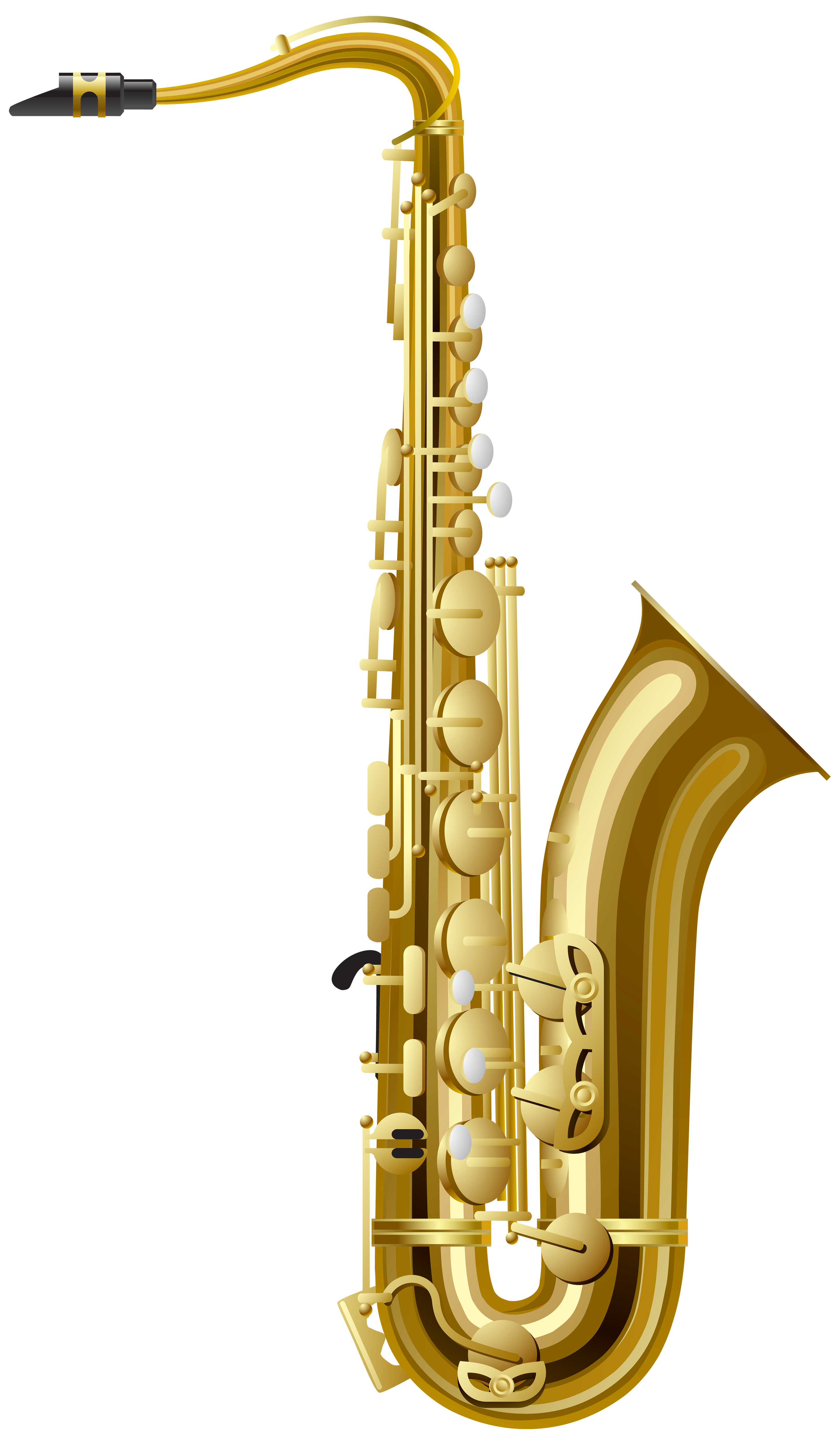 Gold Saxophone PNG Clipart.