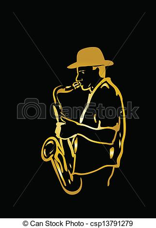 Saxophone player Clipart Vector Graphics. 748 Saxophone player EPS.
