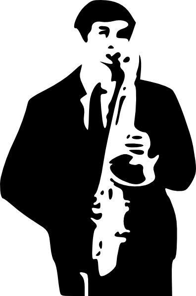 Saxophone Player clip art Free vector in Open office drawing svg.