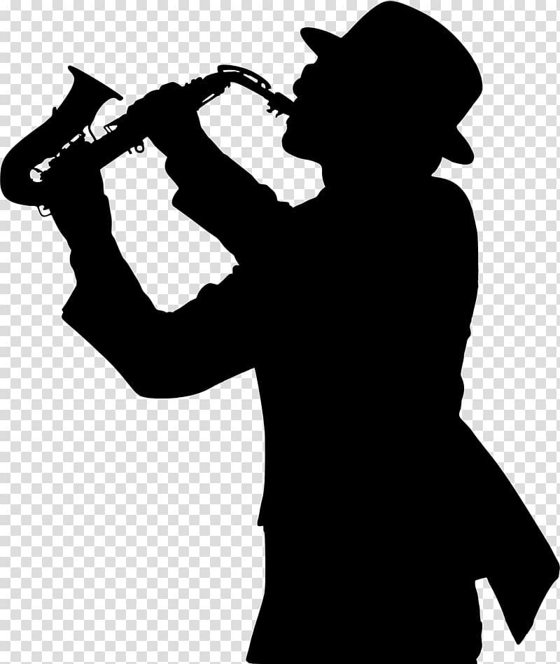 Saxophone Trumpeter Silhouette Jazz, Trumpet transparent.