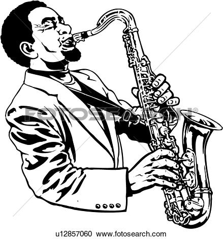 Clipart of illustration, lineart, sax, saxophone, player.