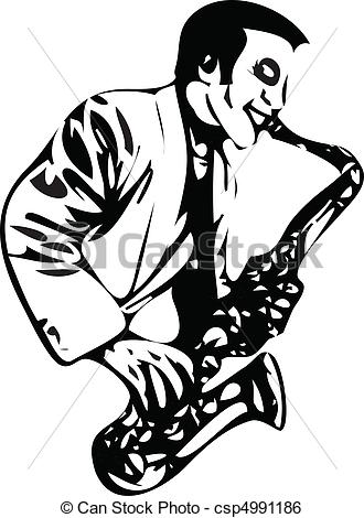 Clip Art Vector of saxophonist vector illustration isolated on.