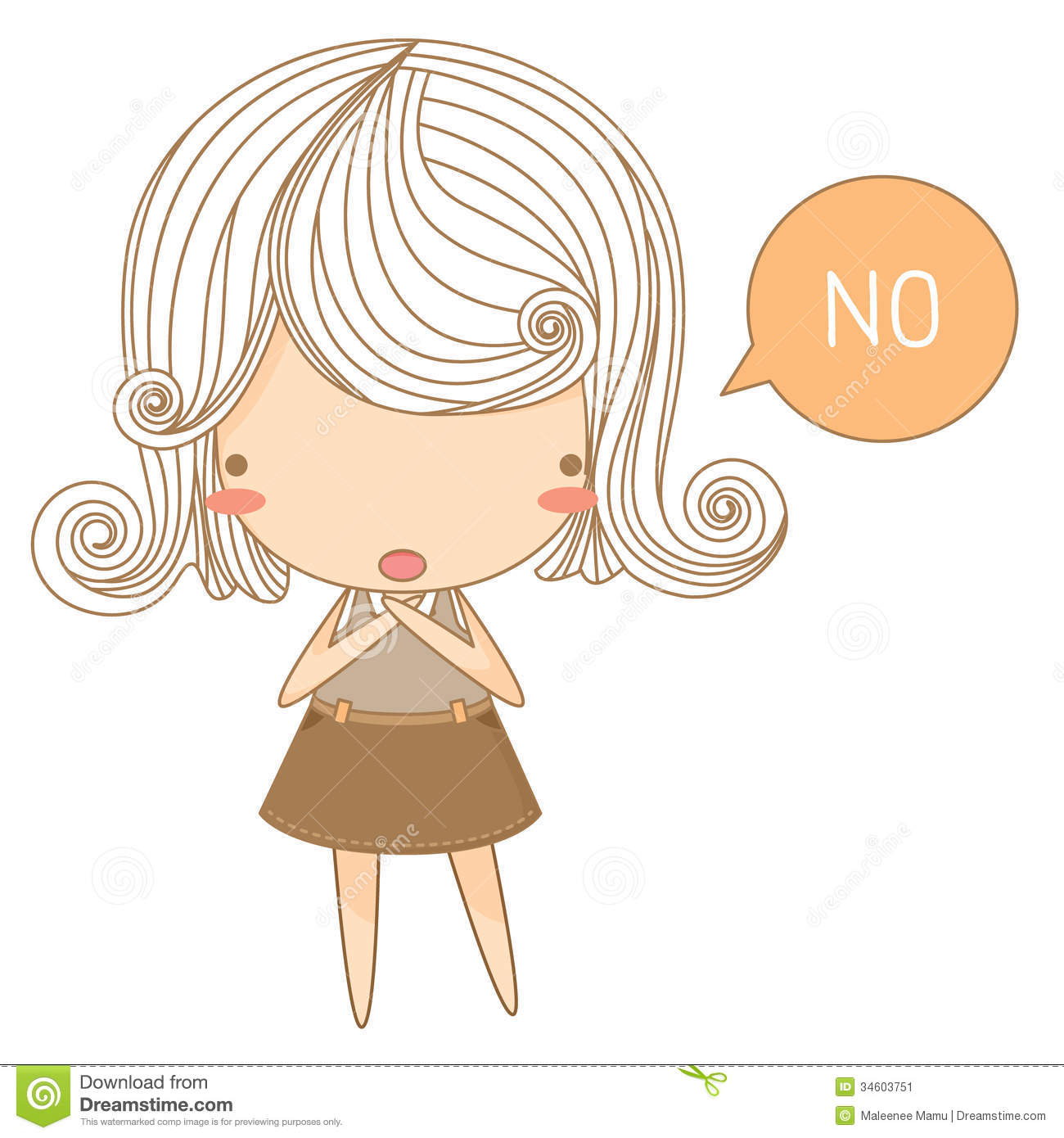 Little girl say no.