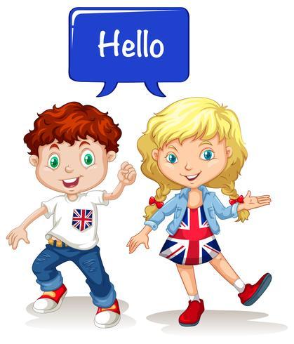British boy and girl saying hello.