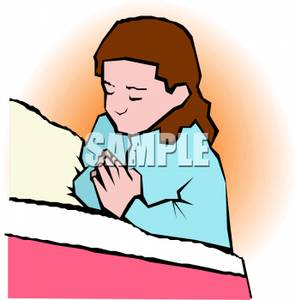 A Girl Saying Bed Time Prayers.