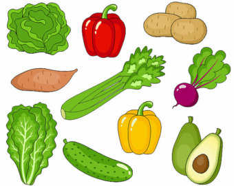 Individual fruits and vegetables clipart.