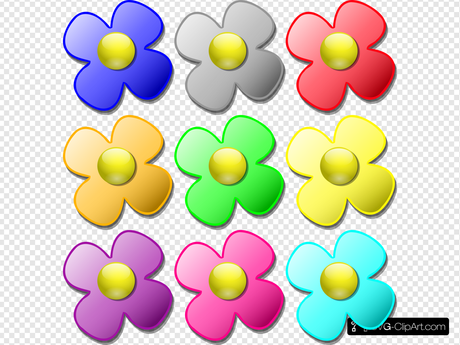 Colored Flowers Clip art, Icon and SVG.