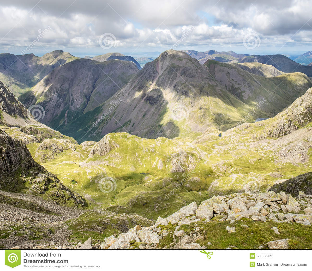 Great Gable From Scafell Pike Stock Photo.