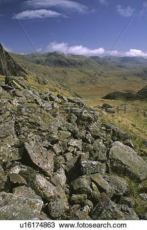 Stock Photo of England, Cumbria, Scafell Pike, The wild landscape.