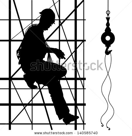 Construction Worker Climbing On Metal Scaffolding Stock Vector.
