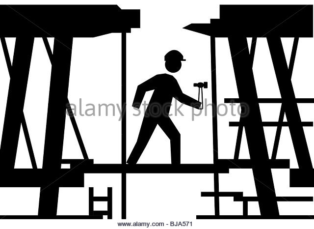 Workman Builder Scaffolding Silhouette Stock Photos & Workman.