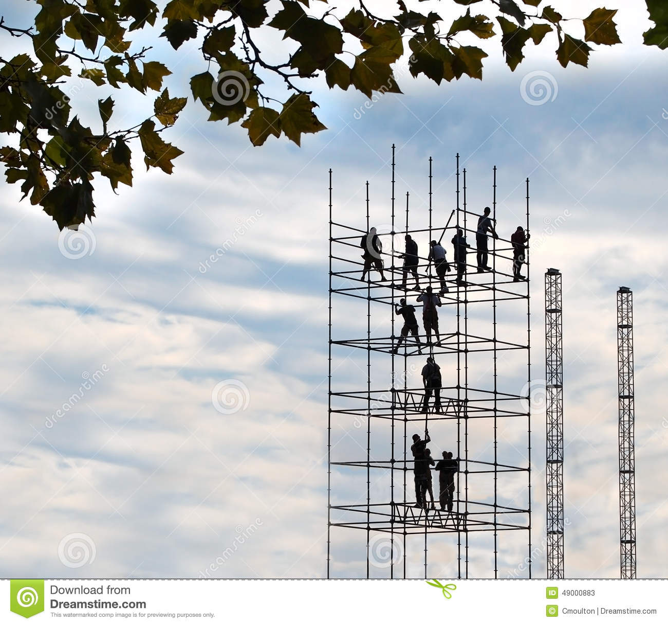 The Scaffold Builders Stock Photo.
