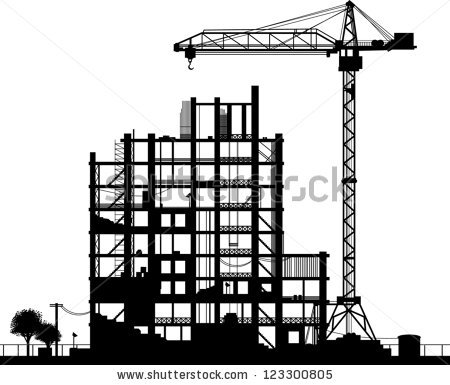 Construction Site Silhouette On White Background Stock Vector.