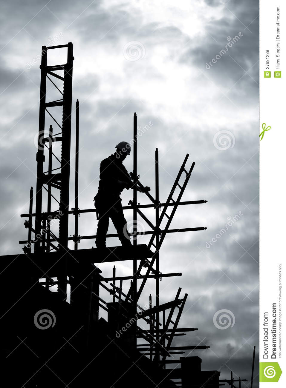 Builder On Scaffold Building Site Royalty Free Stock Images.