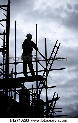 Stock Photo of builder on scaffold building site k12710283.