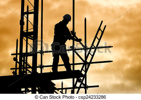 Pictures of silhouette construction worker on scaffolding building.